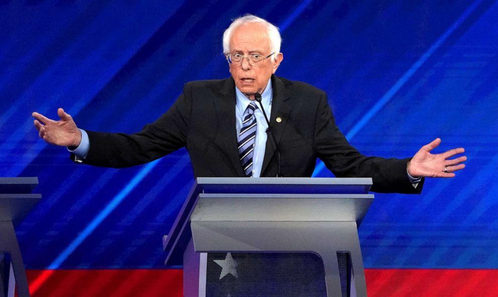 PHOTO: Senator Bernie Sanders speaks during the 2020 Democratic U.S. presidential debate in Houston, T.X. on Sept. 12, 2019.