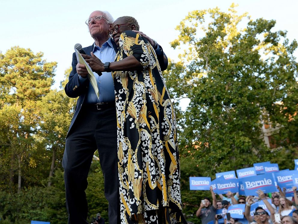 PHOTO: Nina Turner and Democratic presidential candidate Sen. Bernie Sanders hug on stage at the campus of the University of Chapel Hill during a campaign rally, Sept. 19, 2019, in Chapel Hill, North Carolina.