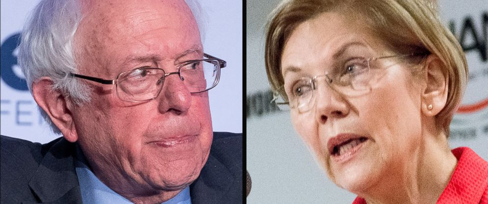 PHOTO: Senator Bernie Sanders, left, and Senator Elizabeth Warren.