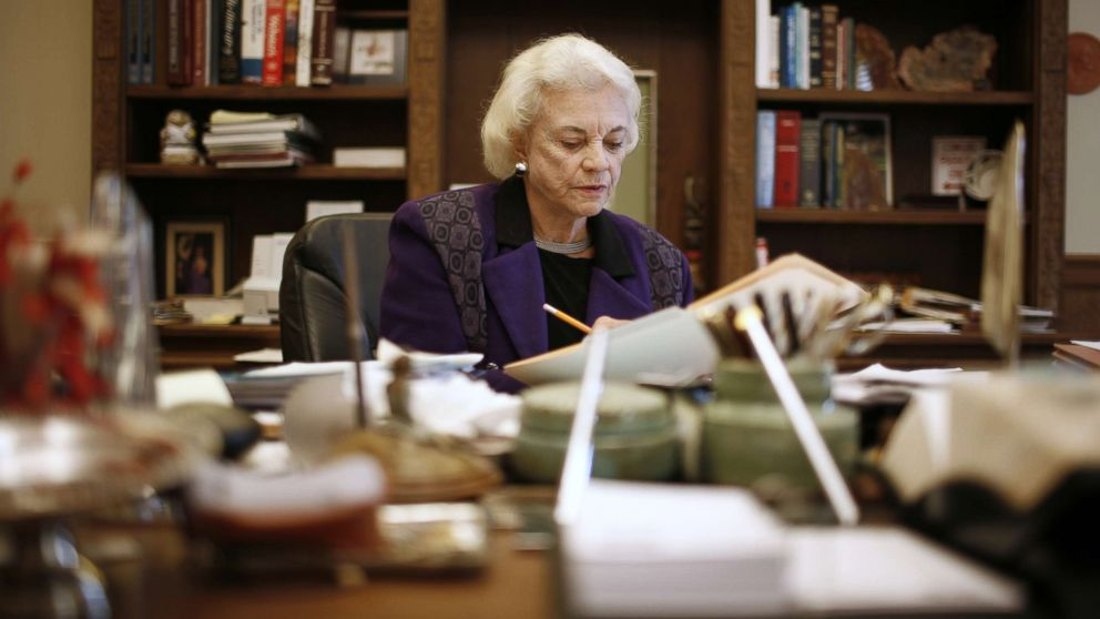 Former Supreme Court Justice Sandra Day O'Connor in her offices at the United States Supreme Court, Jan. 23, 2007, in Washington, D.C.