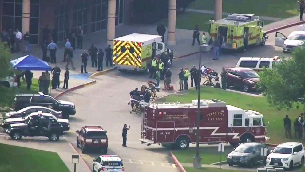 PHOTO: Emergency personnel and law enforcement officers respond to a high school near Houston after an active shooter was reported on campus, May 18, 2018, in Santa Fe, Texas.