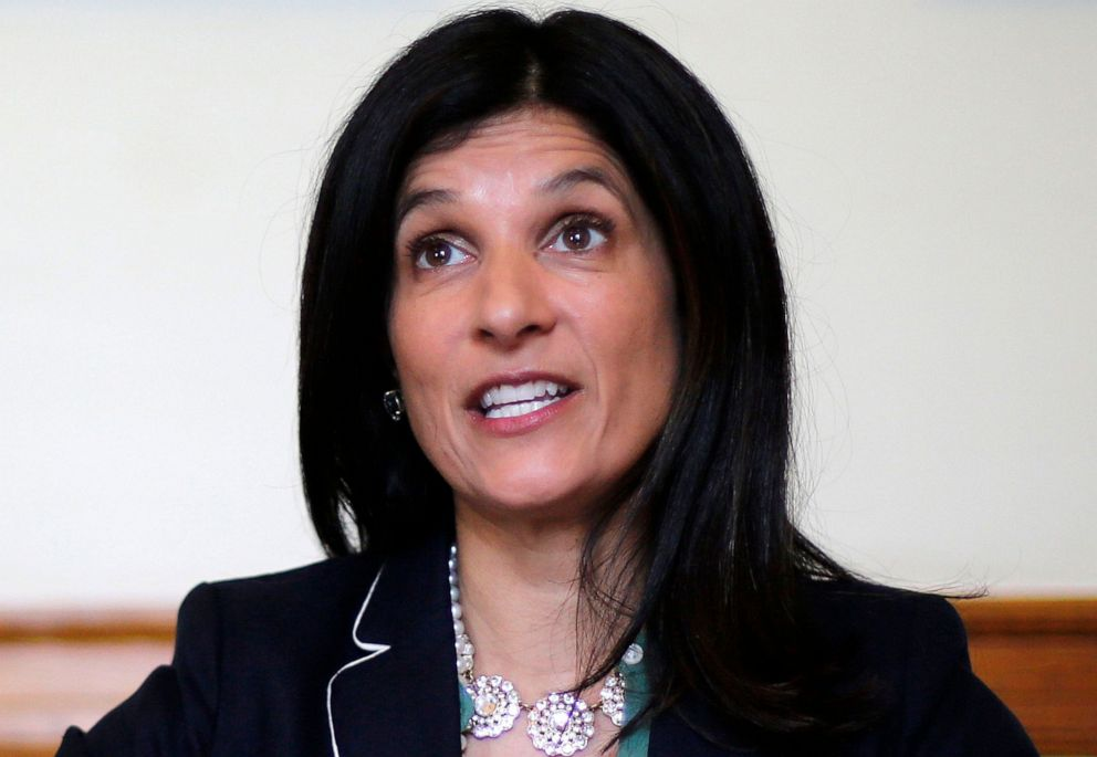 PHOTO: In this May 5, 2018 file photo, Maine Speaker of the House Sara Gideon speaks to reporters at the State House in Augusta, Maine. Gideon announced on June 24, 2019, that she will challenge Republican Sen. Susan Collins in the 2020 election.