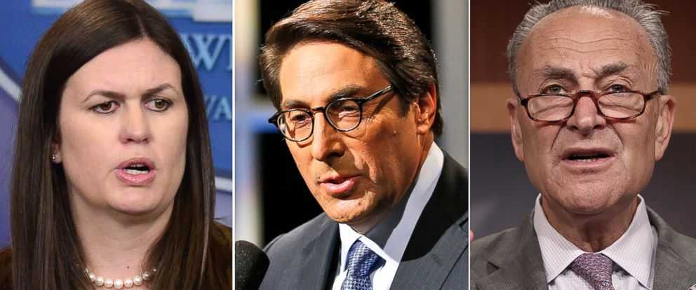 PHOTO: Pictured (L-R) are White House Deputy Press Secretary Sarah Huckabee Sanders, Jay Sekulow, Chief Counsel of the American Center for Law and Justice and Senate Minority Leader Chuck Schumer.