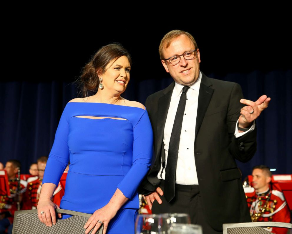 PHOTO: Sarah Huckabee Sanders and Jonathan Karl attend the 2018 White House Correspondents Dinner at Washington Hilton, April 28, 2018, in Washington, DC.