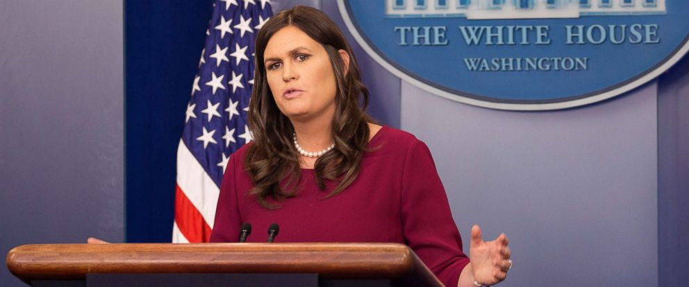 PHOTO: White House spokesperson Sarah Sanders holds a news briefing at The White House in Washington, D.C., April 10, 2018.