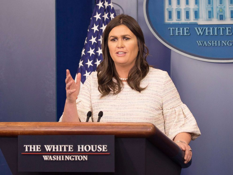 PHOTO: White House spokesperson Sarah Sanders conducts news briefing at The White House in Washington, D.C., April 11, 2018.