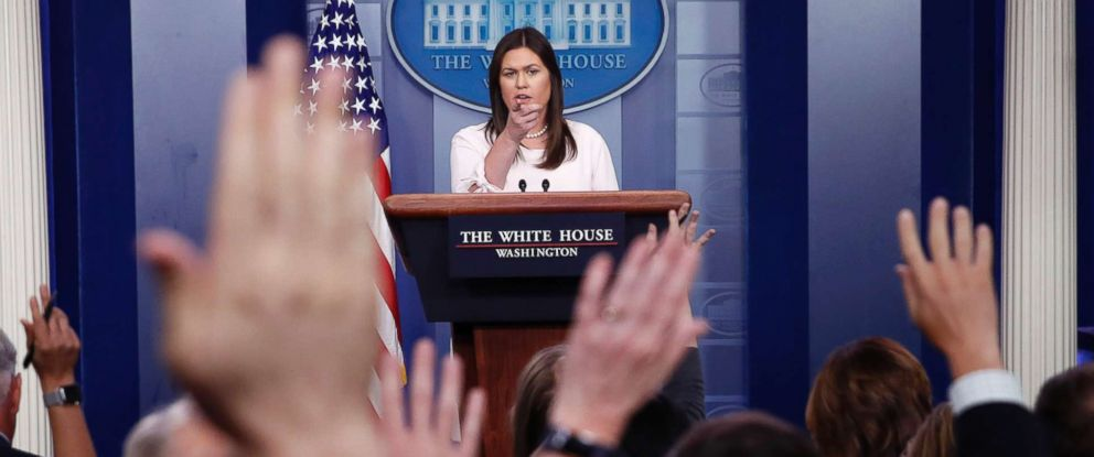 PHOTO: White House press secretary Sarah Huckabee Sanders points to a reporter for a question during a press briefing at the White House, July 2, 2018, in Washington.
