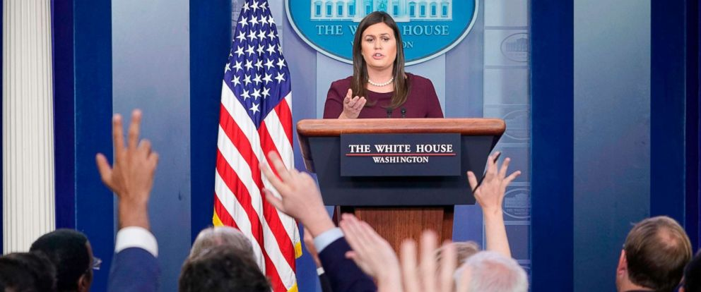 PHOTO: White House Press Secretary Sarah Sanders speaks during a briefing in the Brady Briefing Room of the White House, Aug. 14, 2018, in Washington, DC.