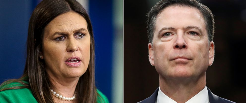 PHOTO: Pictured (L-R) are White House press secretary Sarah Huckabee Sanders, April 9, 2018 and former FBI Director James Comey, June 8, 2017.