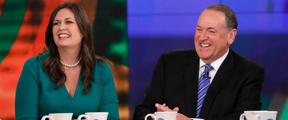 """PHOTO: The White House press secretary, Sarah Huckabee Sanders, was joined by her father, former Gov. Mike Huckabee, on """"The View,"""" Sept. 6, 2017."""