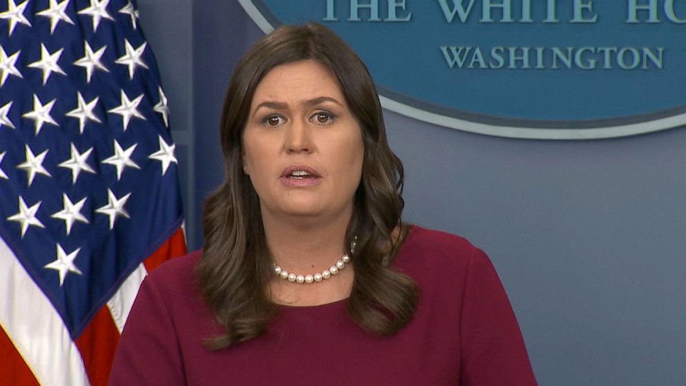 PHOTO: White House press secretary Sarah Sanders appeared to get audibly choked up while answering a child reporters question about school safety.