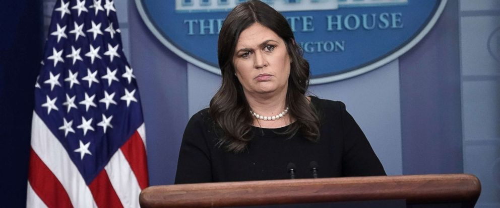 PHOTO: White House Press Secretary Sarah Huckabee Sanders addresses reporters during a daily news briefing at the James Brady Press Briefing Room of the White House June 14, 2018 in Washington.