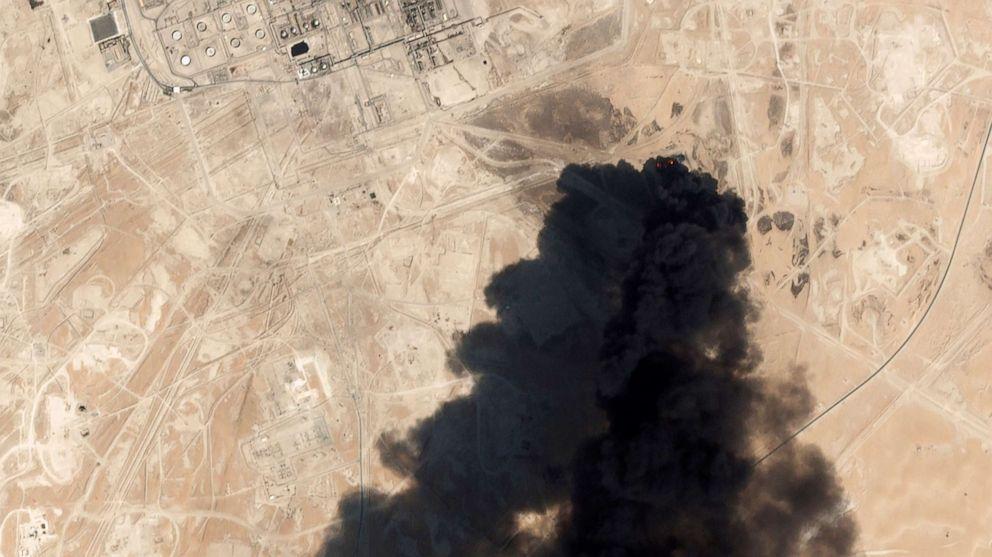 PHOTO: Thick black smoke risese from Saudi Aramcos Abqaiq oil processing facility in Buqyaq, Saudi Arabia, Sept. 14, 2019.