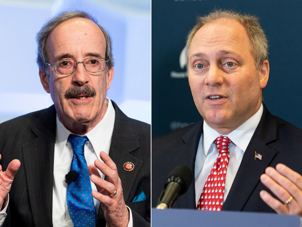 PHOTO: U.S. Representative Eliot Engel speaks at the Anti-Defamation League (ADL) National Leadership Summit in Washington, DC.   U.S. representative Steve Scalise speaks at a press conference in the US Capitol.
