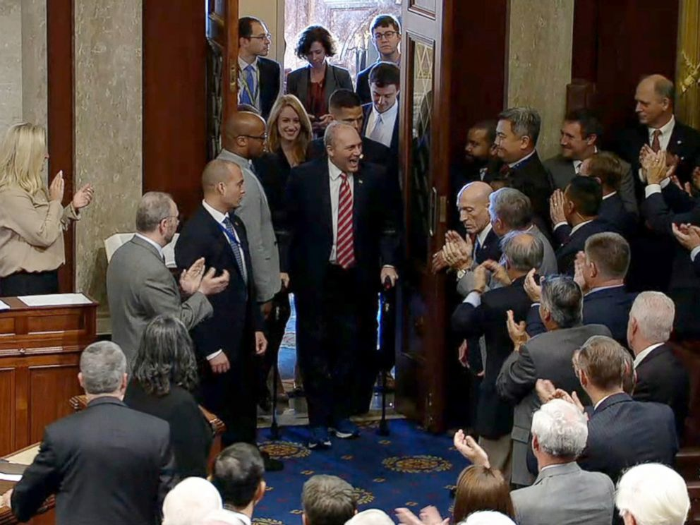 PHOTO: House Majority Whip Steve Scalise is greeted with a standing ovation as he return to work for the first time, Sept. 28, 2017, after being shot during a congressional baseball game practice.