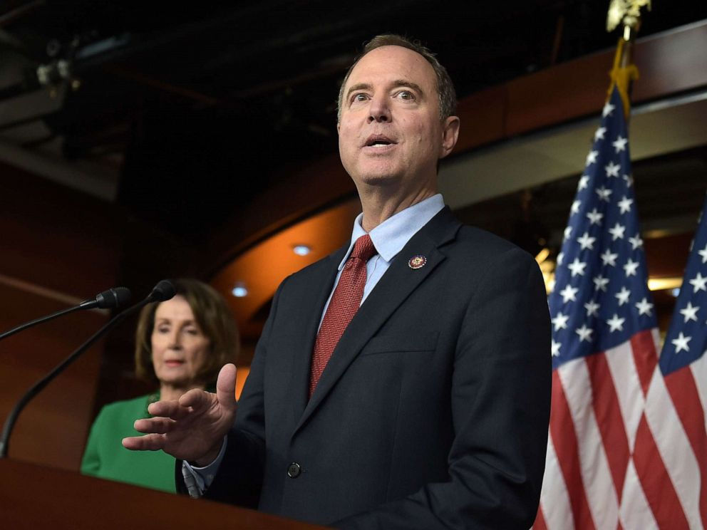 PHOTO: Chairman of the US House Permanent Select Committee on Intelligence, Adam Schiff (R), and Speaker of the House Nancy Pelosi hold a press conference on Capitol Hill in Washington, DC, on October 15, 2019.