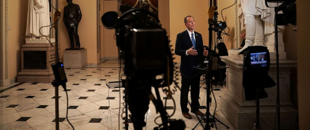 PHOTO: Rep. Adam Schiff participates in a TV interview at the U.S. Capitol on Nov. 29, 2018 in Washington, D.C.