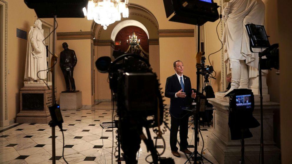 Rep. Adam Schiff participates in a TV interview at the U.S. Capitol on Nov. 29, 2018 in Washington, D.C.