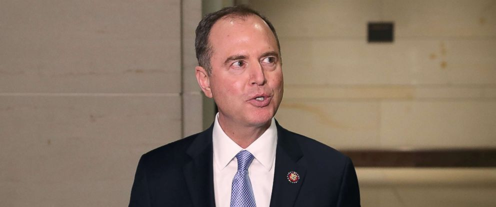 PHOTO: Chairman Adam Schiff (D-CA) speaks to the media after Michael Cohen, former attorney and fixer for President Donald Trump, appeared before a closed door House Intelligence Committee hearing at the Capitol, March 6, 2019.