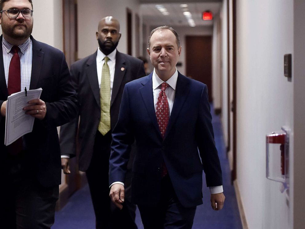 PHOTO: Representative Adam Schiff, walks in Capitol Hill after witnesses failed to show up for closed door testimony during the impeachment inquiry into President Donald Trump on Nov. 5, 2019, in Washington, D.C.