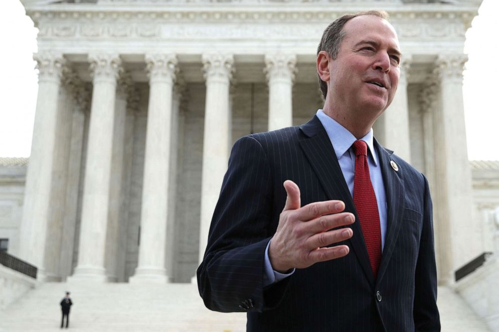 PHOTO: Rep. Adam Schiff speaks to a reporter after a news conference in front of the U.S. Supreme Court, April 2, 2019 in Washington, D.C.