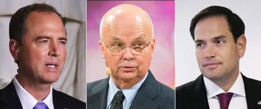 PHOTO: House Intelligence Committee ranking member Rep. Adam Schiff, former Director of the CIA and NSA, Michael Hayden, and Sen. Marco Rubio are pictured in a combination image.