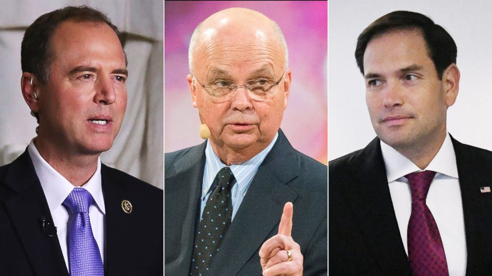 House Intelligence Committee ranking member Rep. Adam Schiff, former Director of the CIA and NSA, Michael Hayden, and Sen. Marco Rubio are pictured in a combination image.