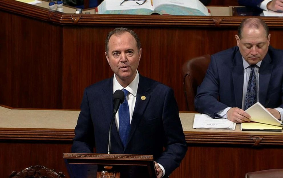 PHOTO: House Intelligence Committee Chairman Rep. Adam Schiff speaks on the floor of the House during the debate on the impeachment resolution, Oct. 31, 2019, at the U.S. Capitol.