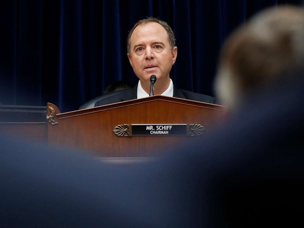 PHOTO: House Intelligence Committee Chairman Rep. Adam Schiff questions Acting Director of National Intelligence Joseph Maguire, as he testifies before the House Intelligence Committee on Capitol Hill in Washington, D.C., Sept. 26, 2019.