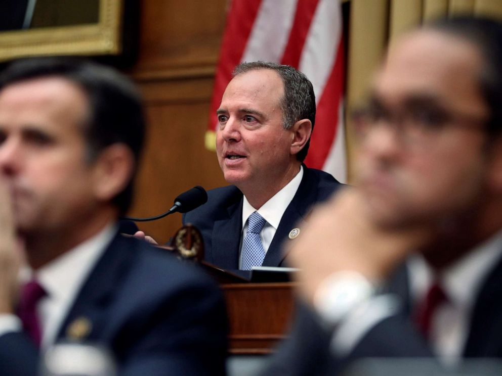 PHOTO: House Intelligence Committee Chairman Adam Schiff questions former special counsel Robert Mueller during his testimony before the House Intelligence Committee on his report on Russian election interference, July 24, 2019, in Washington, D.C.