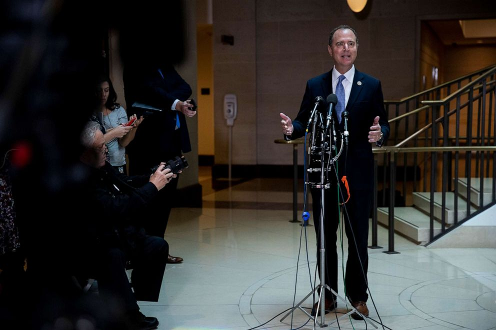 PHOTO: Rep. Adam Schiff (D-Calif.), chairman of the House Intelligence Committee, speaks to reporters after a closed-door briefing on a whistleblower complaint on Capitol Hill, Sept. 19, 2019.