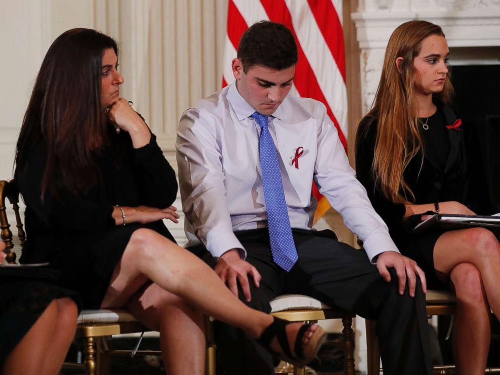 PHOTO: Parent Melissa Blank sits with survivors of the Marjory Stoneman Douglas High School shooting, Jonathan Blank and Julia Cordover, as they listen to other survivors and the families of victims at the White House in Washington, Feb. 21, 2018.