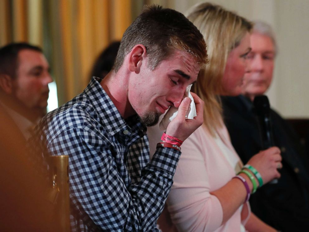 PHOTO: Marjory Stoneman Douglas High School student Samuel Zeif wipes his tears at a listening session with President Trump and high school shooting survivors and students at the White House in Washington, Feb. 21, 2018.