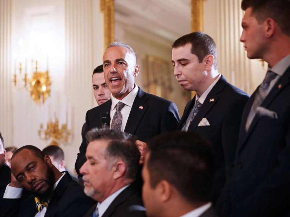 PHOTO: Andrew Pollack, whose daughter Meadow was killed in the Parkland school shooting, speaks during listening session on gun violence with President Donald Trump, teachers and students in the State Dining Room of the White House on Feb. 21, 2018.