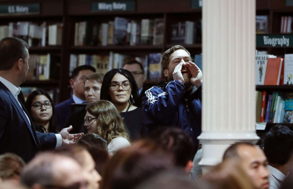 PHOTO: A heckler interrupts former Starbucks CEO and Chairman Howard Schultz during an appearance during Schultzs book tour, Jan. 28, 2019, in New York City.