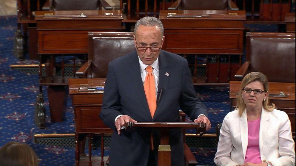 PHOTO: Sen. Chuck Schumer speaks about John McCain on the Senate floor, Aug. 27, 2018.