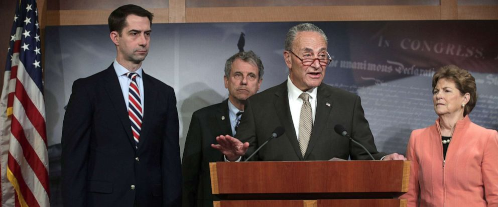 PHOTO: Senate Minority Leader Sen. Chuck Schumer speaks during a news conference at the U.S. Capitol, April 4, 2019 in Washington, DC.
