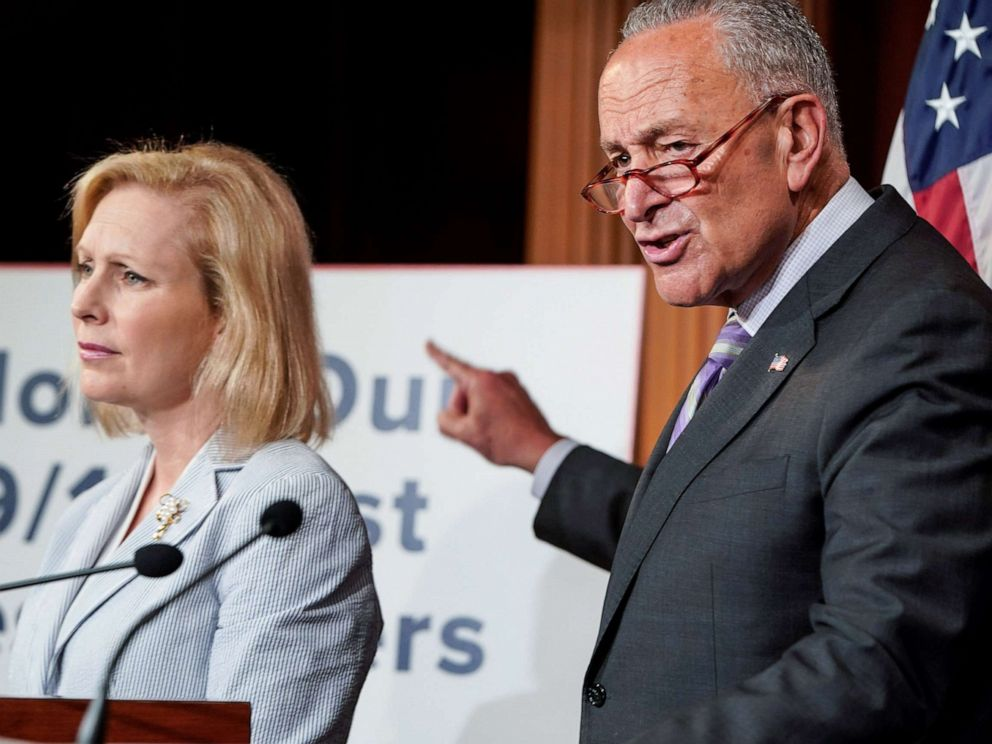 PHOTO: Senators Kirsten Gillibrand and Senate Minority Leader Chuck Schumer call for a vote for a fund for September 11 first responders during media briefing on Capitol Hill in Washington, D.C., July 17, 2019.
