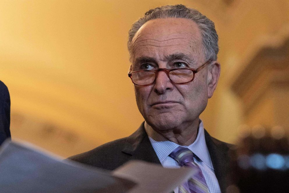 Chuck Schumer looks on during a press conference after the Democratic weekly policy lunch at the Capitol