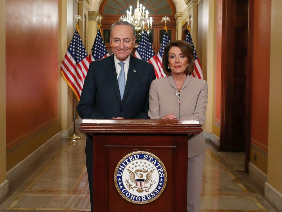 PHOTO: House Speaker Nancy Pelosi and Senate Minority Leader Chuck Schumer speak on Capitol Hill in response to President Donald Trumps prime-time address on border security, Jan. 8, 2019, in Washington.