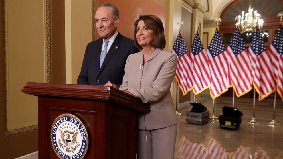 House Speaker Nancy Pelosi and Senate Minority Leader Chuck Schumer speak on Capitol Hill in response to President Donald Trump's prime-time address on border security, Jan. 8, 2019, in Washington.