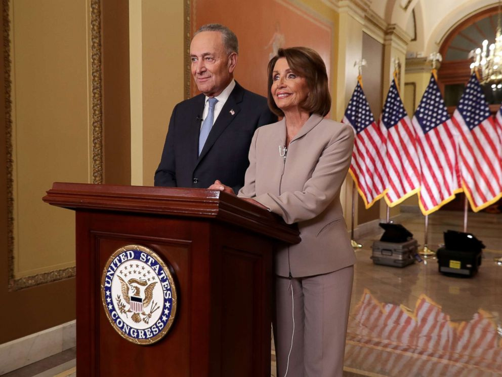 PHOTO: House Speaker Nancy Pelosi and Senate Minority Leader Chuck Schumer speak on Capitol Hill in response to President Donald Trumps prime-time address on border security, Jan. 8, 2019, in Washington.