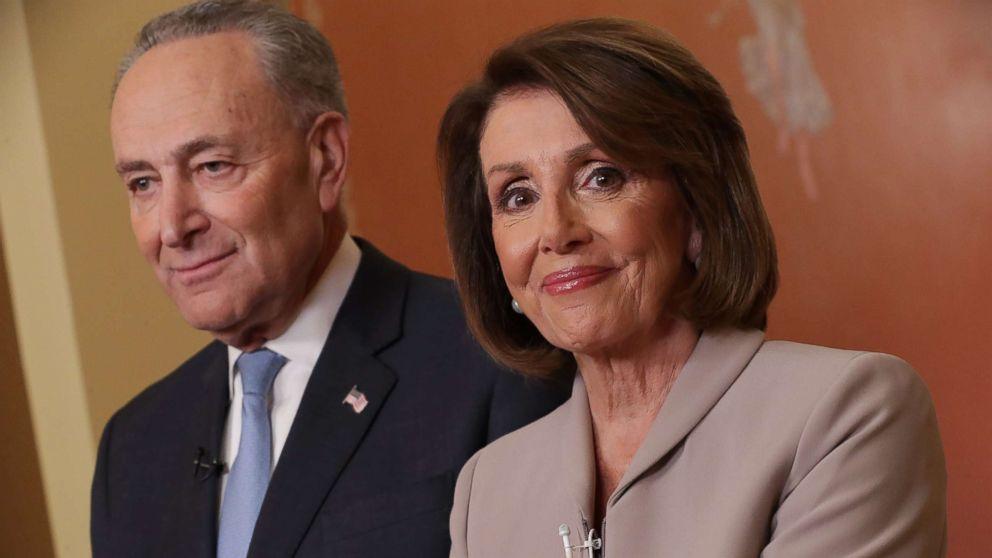 House Speaker Nancy Pelosi and Senate Minority Leader Chuck Schumer speak on Capitol Hill in response to President Donald Trump's prime-time address on border security, Jan. 8, 2019, in Washington.