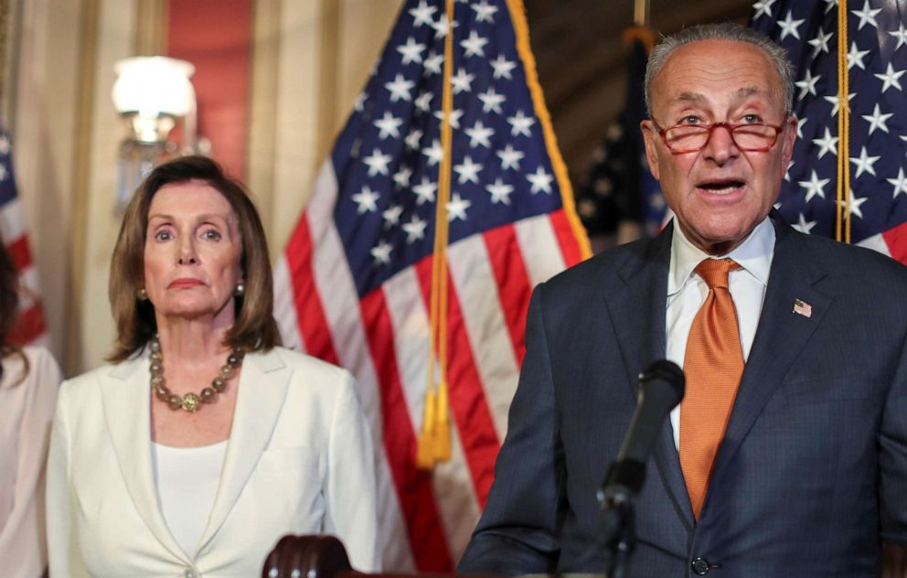 PHOTO: House Speaker Nancy Pelosi and Senate Minority Leader Chuck Schumer hold a news conference to demand that the U.S. Senate vote on the House-passed Bipartisan Background Checks Act, in Washington, D.C., September 9, 2019.