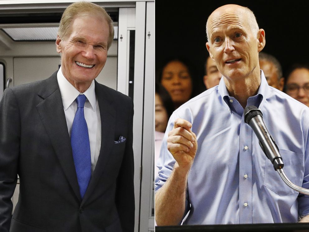 PHOTO: Sen. Invoice Nelson, D-Fla., exits the Senate subway en route to a vote on Capitol Hill, June 20, 2018. Florida Gov. Rick Scott, center, speaks in the future of a news conference, Aug. 22, 2018, in Fortress Lauderdale, Fla.