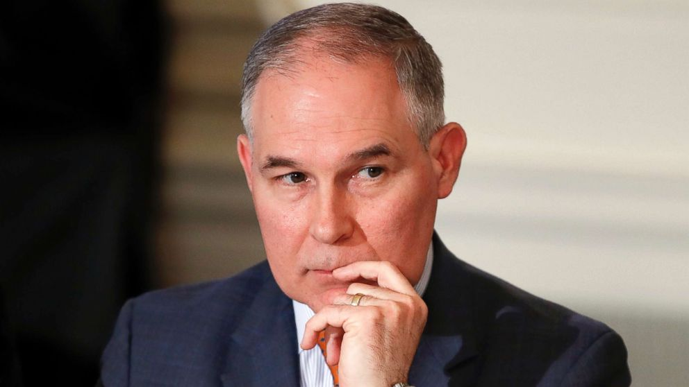 Environmental Protection Agency Administrator Scott Pruitt attends a meeting with state and local officials in the State Dining Room of the White House in Washington, D.C., Feb. 12, 2018. Pruitt and his staffers took nearly $150,000 in commercial and charter flights over seven-months last year, including repeated trips to Pruitt's home state of Oklahoma, according to travel vouchers obtained by an environmental group.