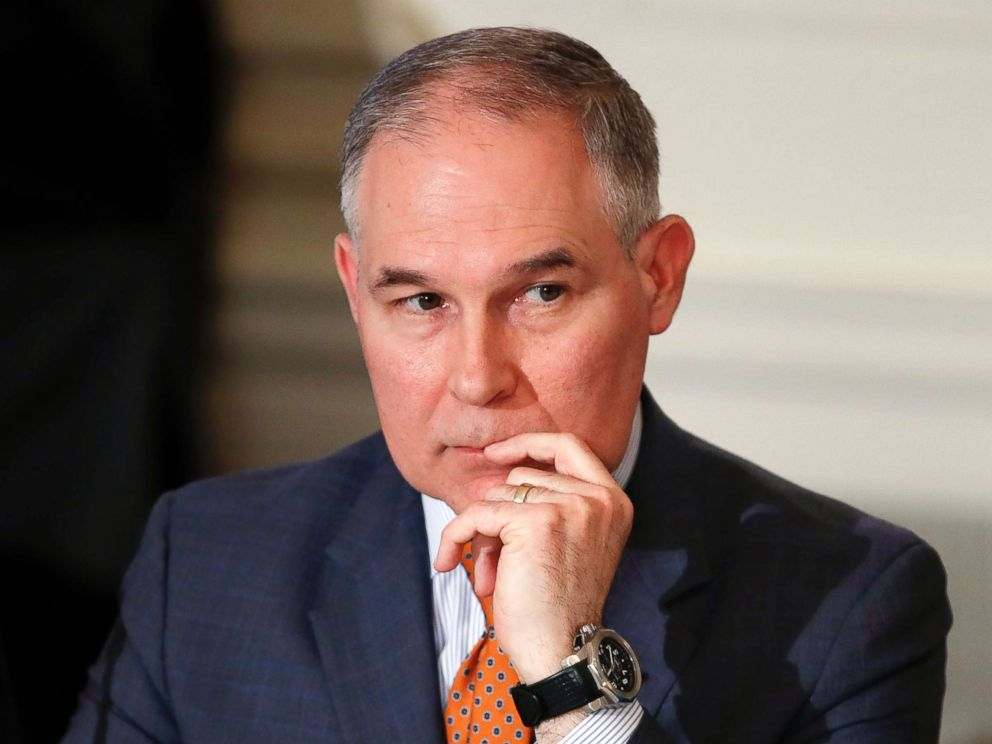 PHOTO: Environmental Protection Administrator Scott Pruitt attends a meeting with state and local officials at the White House National Dining Hall in Washington DC on February 12, 2018.