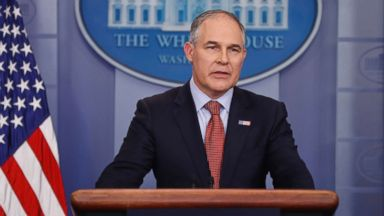 'PHOTO: EPA Administrator Scott Pruitt speaks in the Brady Press Briefing Room of the White House in Washington, D.C., June 2, 2017.' from the web at 'https://s.abcnews.com/images/Politics/scott-pruitt-ap-01-as-170908_16x9t_384.jpg'