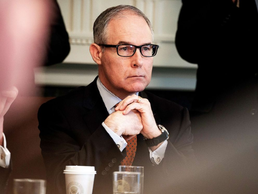 PHOTO: Environmental Protection Agency administrator Scott Pruitt listens as President Donald Trump speaks during a cabinet meeting at the White House, on June 21, 2018.