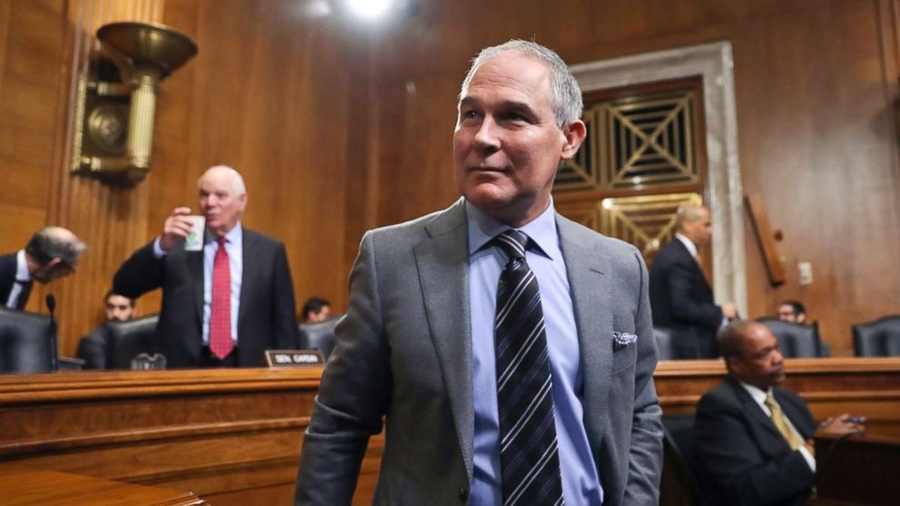 Environmental Protection Agency Administrator Scott Pruitt arrives to testify before the Senate Environment Committee on Capitol Hill in Washington, Jan. 30, 2018.